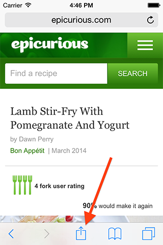 How do I import a recipe directly from iOS web browsers & apps like